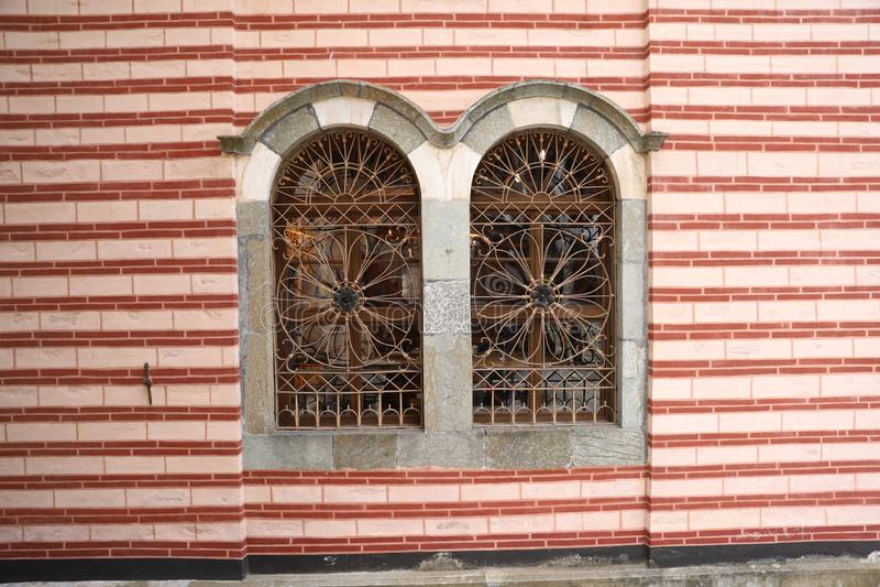Decoraciones de acero de la ventana imagen de archivo