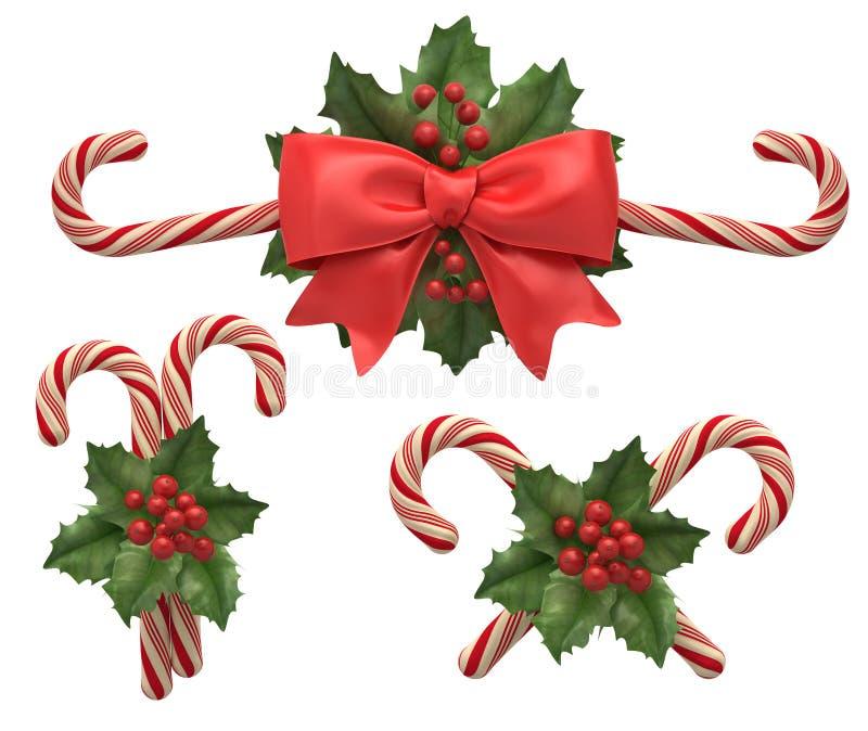 Decoraciones de candys de los cristmas stock de ilustración