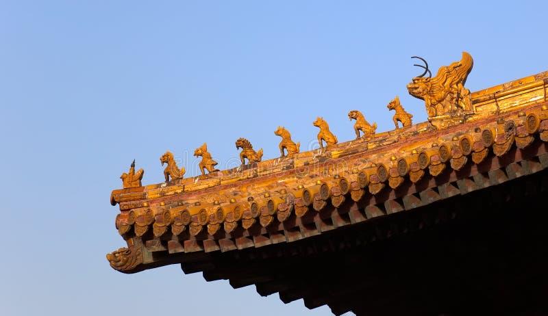 Decoraciones de la azotea. Ciudad prohibida. Pekín. China fotos de archivo libres de regalías