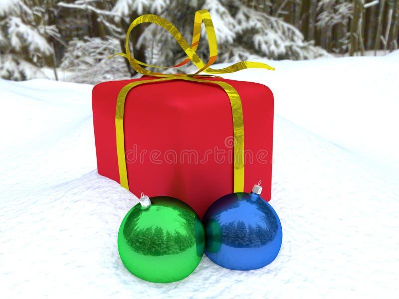 Decoraciones de la caja de la Navidad y de la Navidad foto de archivo libre de regalías