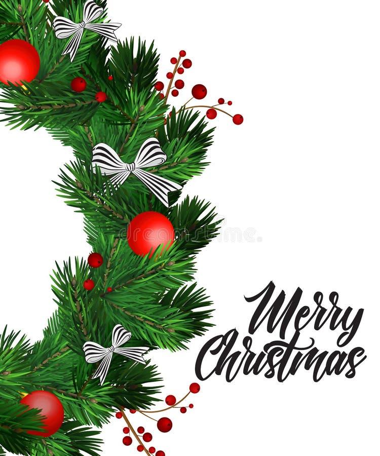 Decoraciones de la guirnalda de la Navidad con el árbol de abeto, los arcos rayados, los conos del pino, las bayas del acebo y lo ilustración del vector