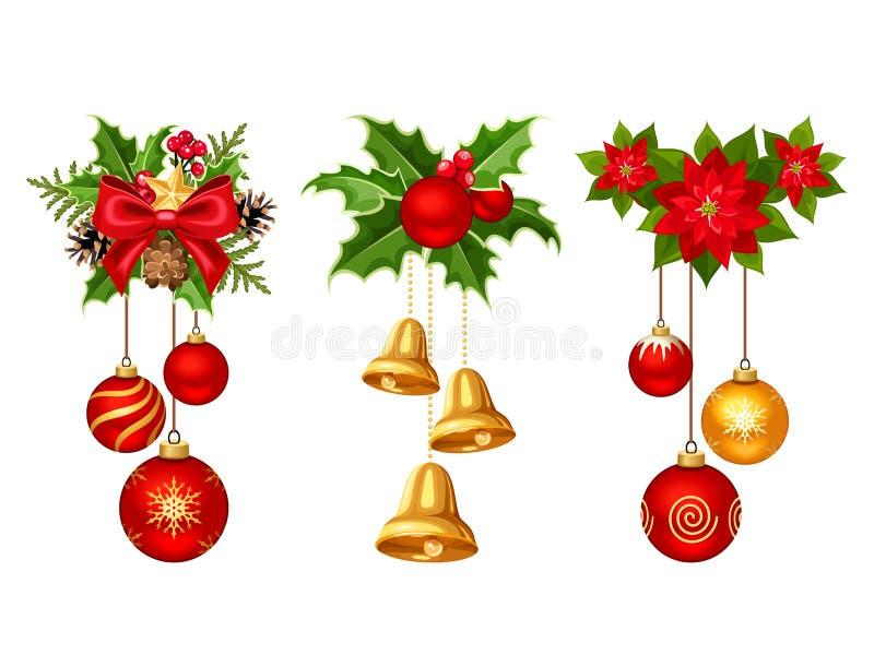 Decoraciones de la Navidad con las bolas y las campanas Ilustración del vector ilustración del vector