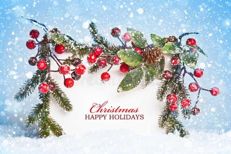 Decoraciones de la Navidad con nieve fotografía de archivo libre de regalías