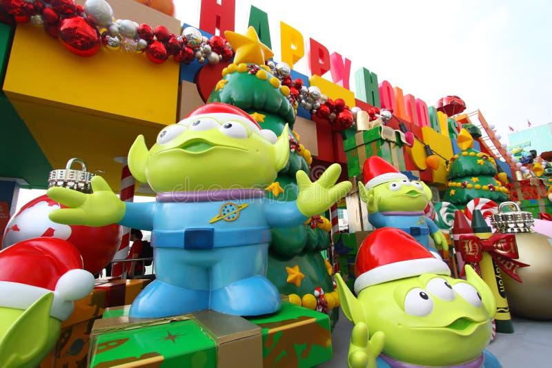 Decoraciones de la Navidad de Toy Story en Hong-Kong foto de archivo