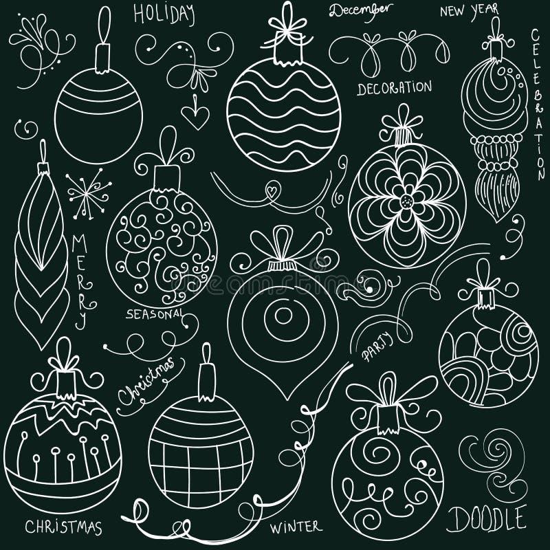 Decoraciones de la Navidad del garabato en la pizarra libre illustration