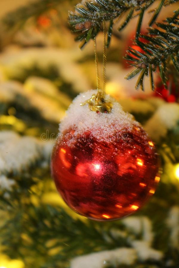 Decoraciones de la Navidad en el árbol de navidad en rojo y colores oro derramado con las luces, primer imagen de archivo