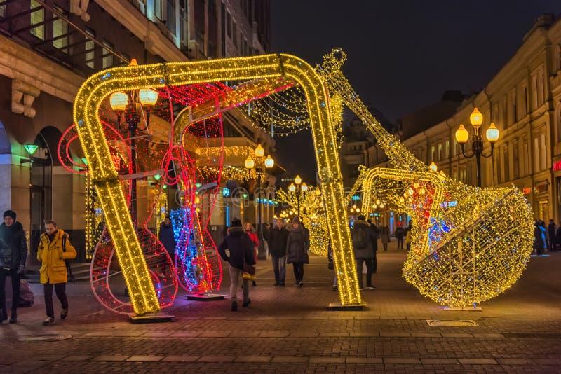 Decoraciones de la Navidad en el Arbat imagen de archivo
