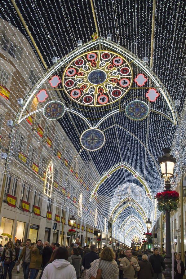 Decoraciones de la Navidad en Málaga, España fotos de archivo libres de regalías