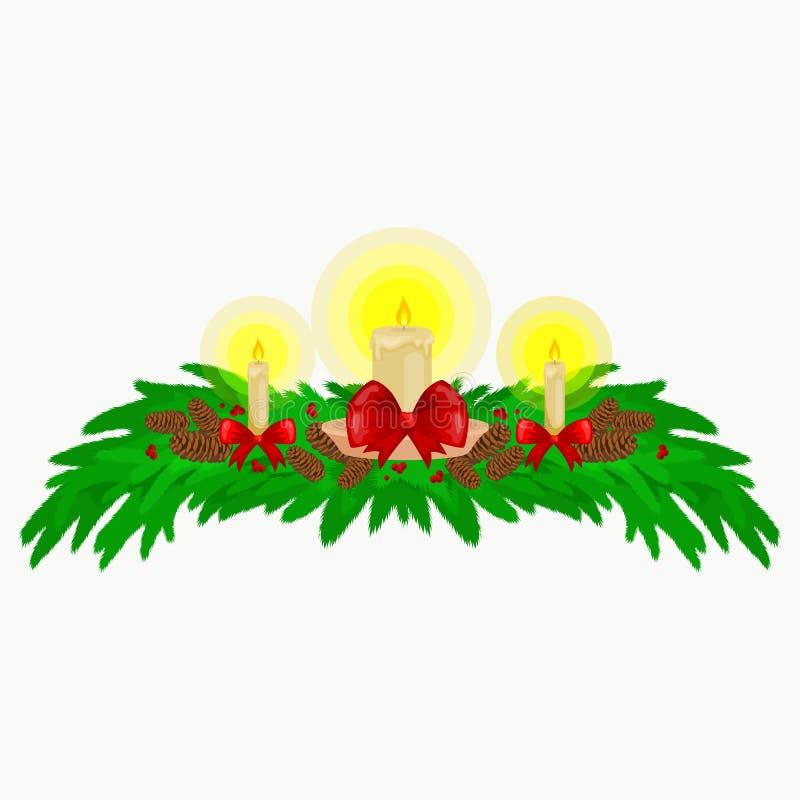 Decoraciones de la Navidad tales como velas en las ramas de la picea adornadas maravillosamente con los arcos y las cintas feliz stock de ilustración