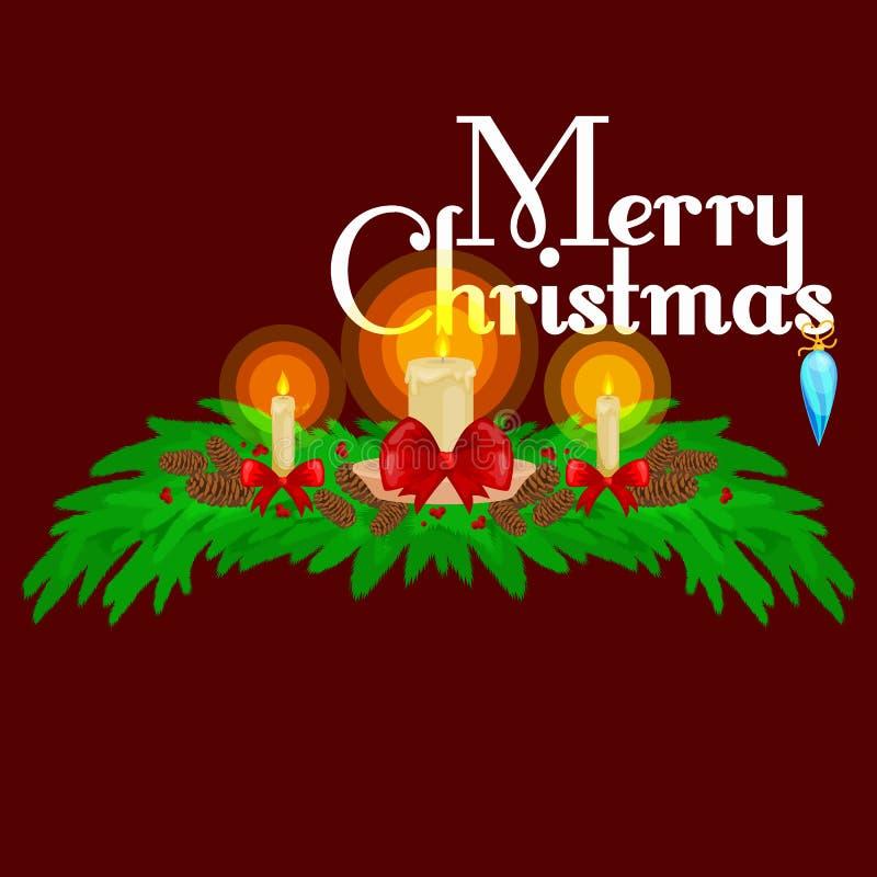 Decoraciones de la Navidad tales como velas en las ramas de la picea adornadas maravillosamente con los arcos y las cintas Feliz  ilustración del vector
