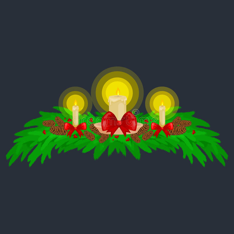 Decoraciones de la Navidad tales como velas en las ramas de la picea adornadas maravillosamente con los arcos y las cintas feliz libre illustration