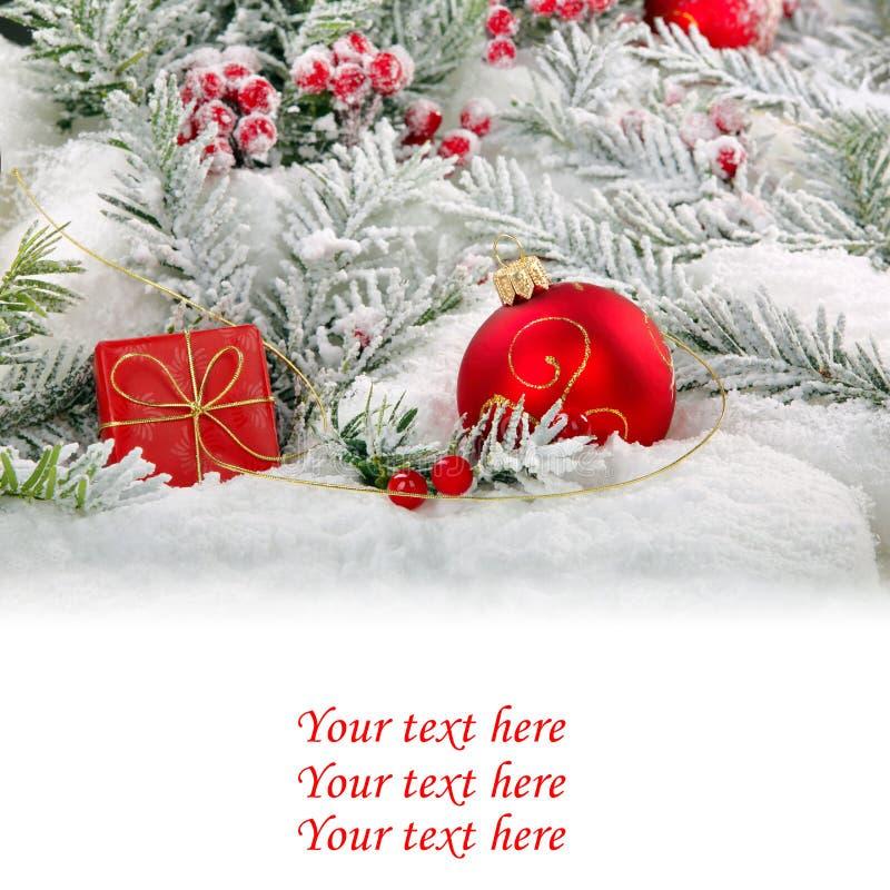 Decoraciones de la nieve de la Navidad con el espacio blanco vacío para el texto foto de archivo libre de regalías