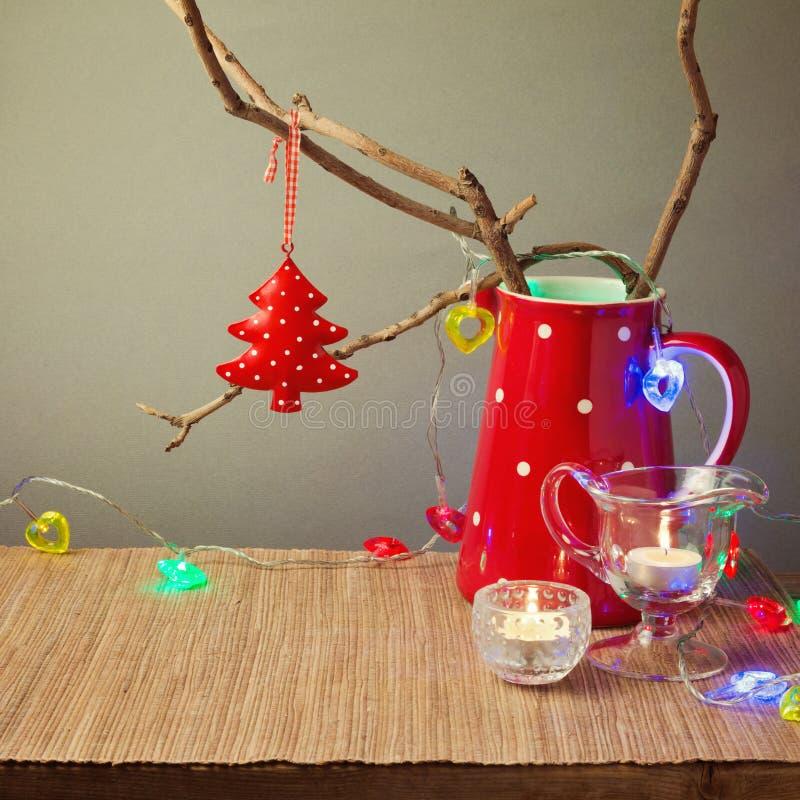 Decoraciones de la tabla de la Navidad foto de archivo