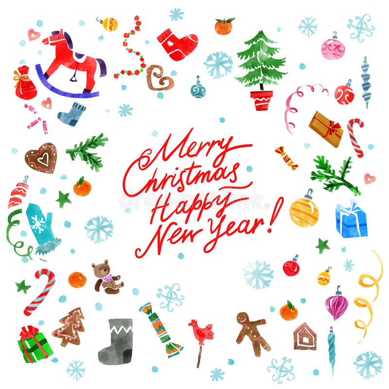 Decoraciones de Navidad fijadas libre illustration