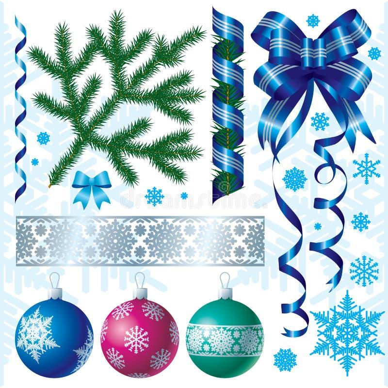 Decoraciones de Navidad y de los Nuevo-Años stock de ilustración