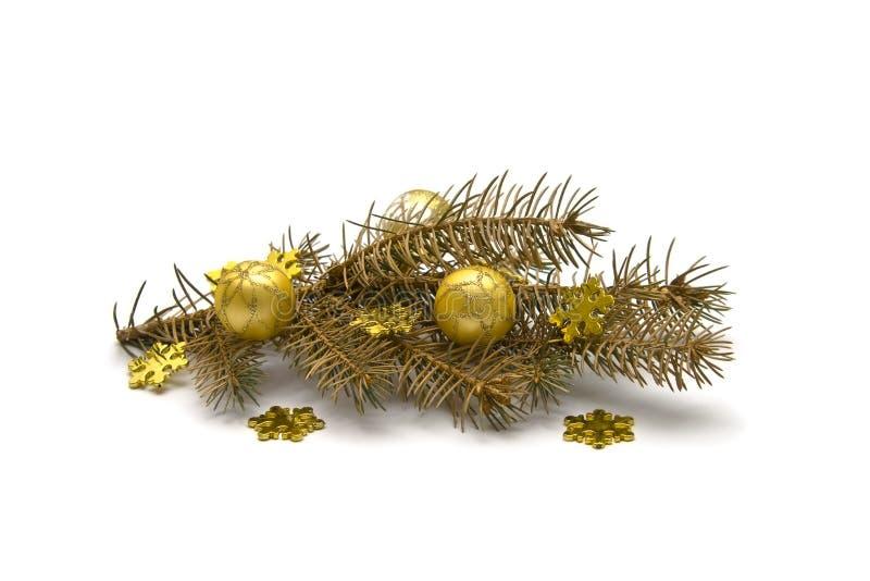 Download Decoraciones De Oro De La Navidad Foto de archivo - Imagen de aislado, ornamento: 7277496