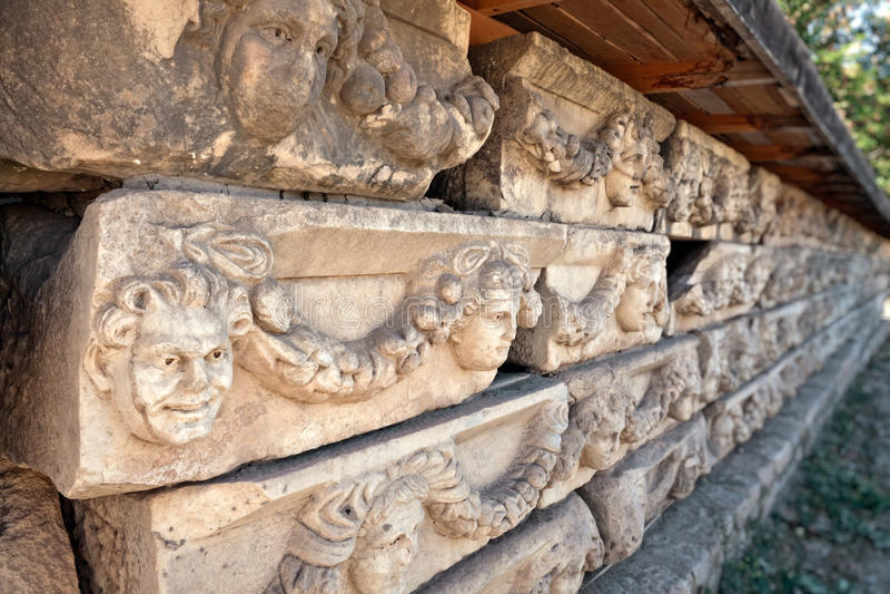 Decoraciones De Piedra En Aphrodisias Fotografía de archivo libre de regalías
