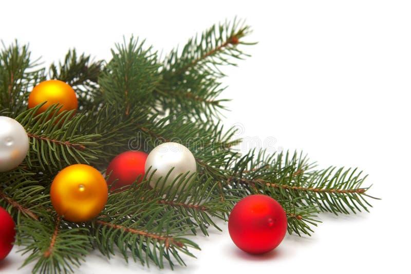 Decoraciones del árbol de navidad fotografía de archivo