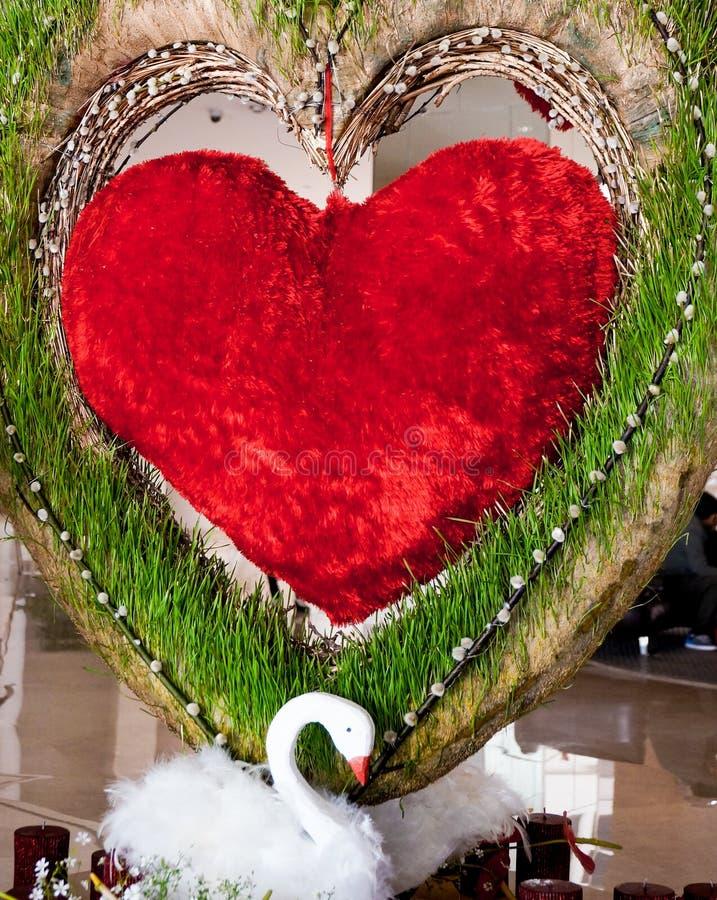 Decoraciones del corazón y del cisne - amor fotografía de archivo