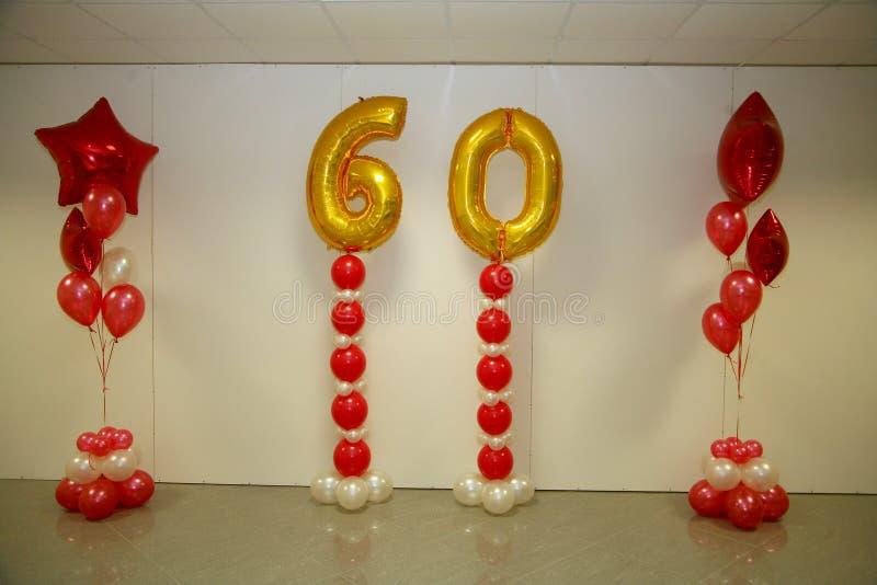 Decoraciones del día de fiesta de la foto de la etapa, de la cortina o de la pared con el número 60 (sesenta) imágenes de archivo libres de regalías