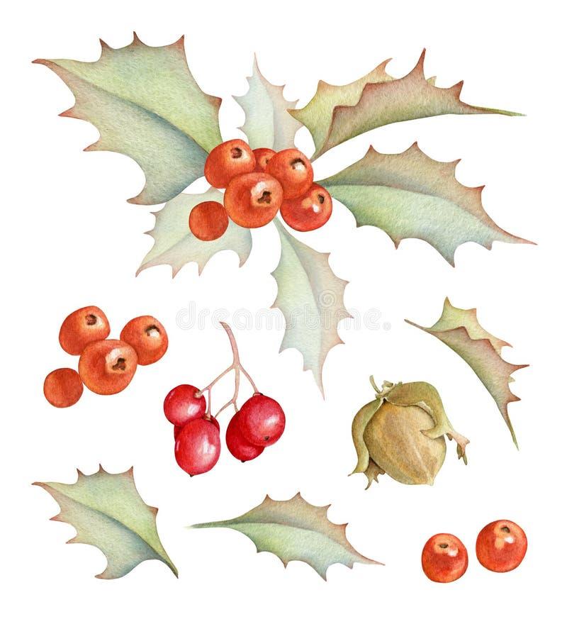 Decoraciones del día de fiesta de la Navidad fijadas stock de ilustración