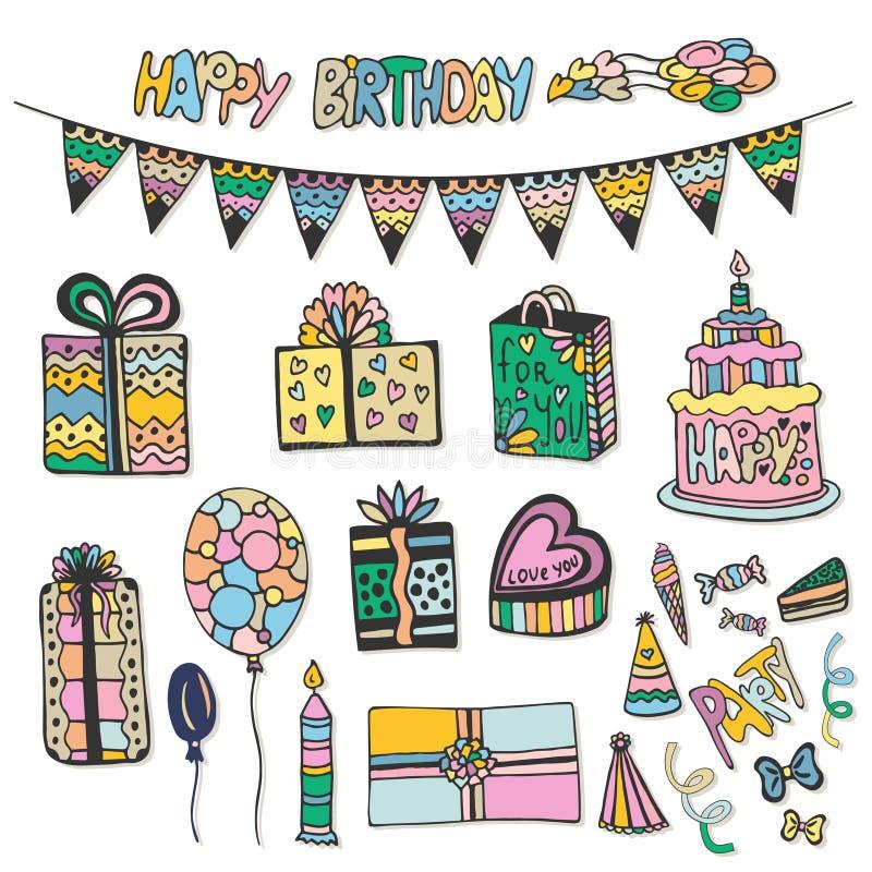 Decoraciones dibujadas mano del feliz cumpleaños El sistema del vector del garabato con las tortas, las cajas de regalo y otra va libre illustration