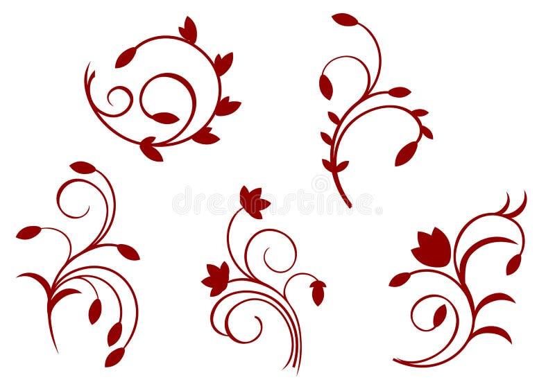 Decoraciones florales de la simplicidad stock de ilustración