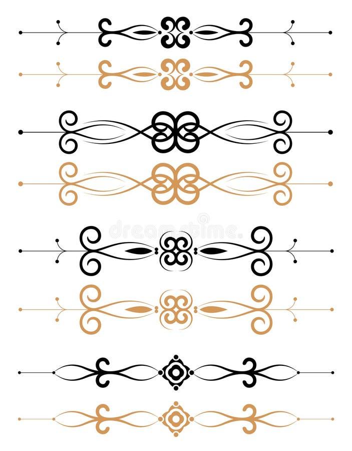 Decoraciones florales ornamentales de la paginación ilustración del vector