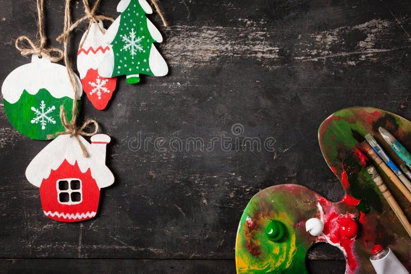 Decoraciones hechas a mano de la Navidad fotografía de archivo