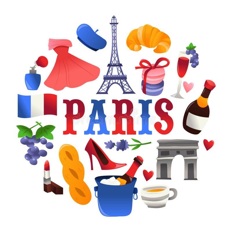 Decoraciones lindas estupendas de la ronda de la cultura de París ilustración del vector