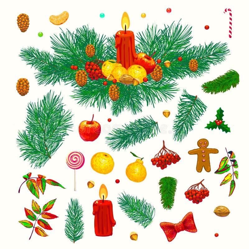 Decoraciones a mano de la Navidad Cualidades festivas stock de ilustración