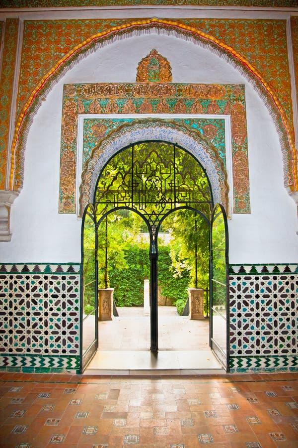 Decoraciones mudéjares en los Alcazars de Sevilla, España. imagen de archivo