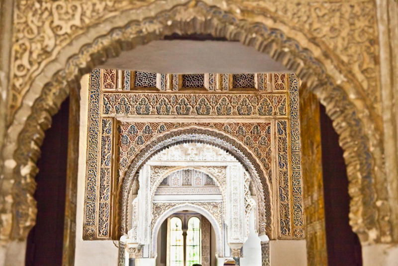 Decoraciones mudéjares en los Alcazars de Sevilla, España. imagen de archivo libre de regalías