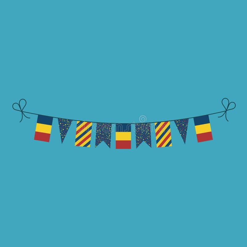 Decoraciones que golpean las banderas para el día de fiesta del día nacional de Rumania en diseño plano ilustración del vector