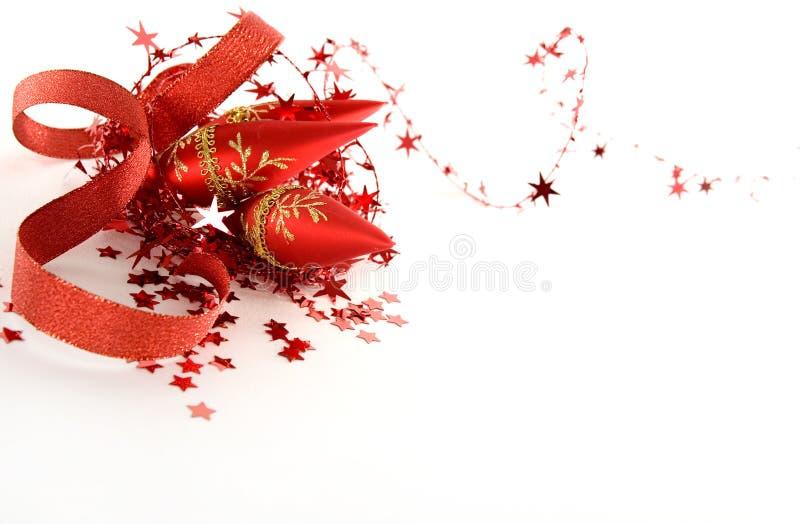Decoraciones rojas de la Navidad fotos de archivo libres de regalías