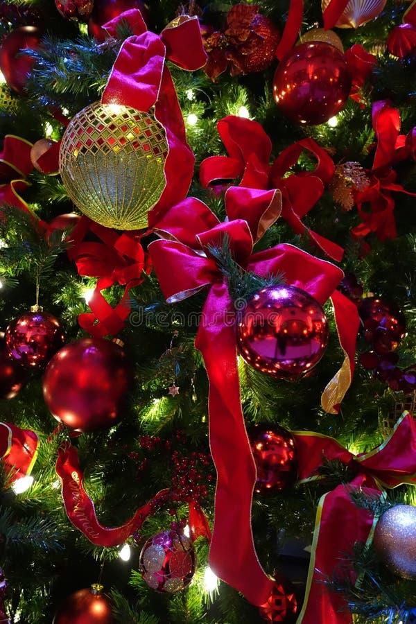 Decoraciones rojas y del oro en un árbol de navidad imágenes de archivo libres de regalías