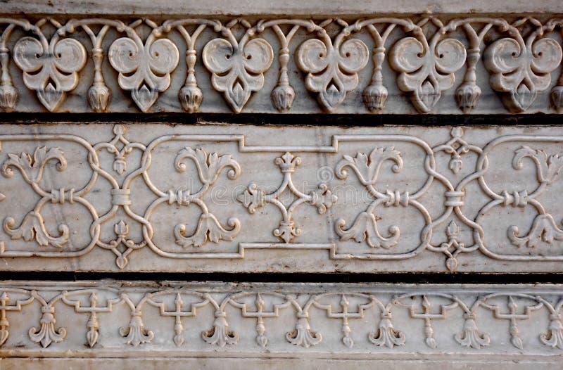 Decoraciones talladas finas del detalle de Taj Mahal imagen de archivo libre de regalías