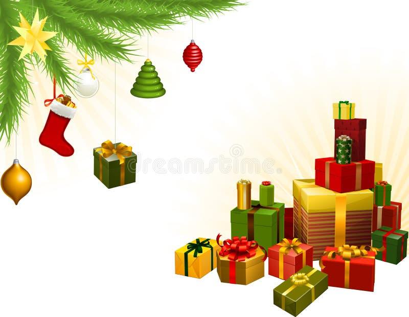 Decoraciones y regalos del árbol de navidad stock de ilustración