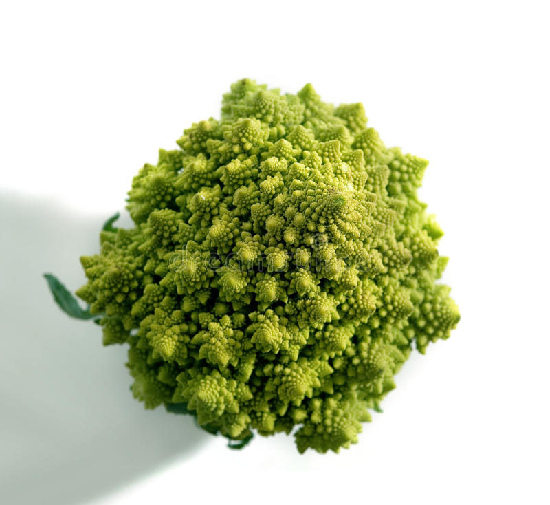 Decorate broccoflower top view - brocolli on white royalty free stock photography