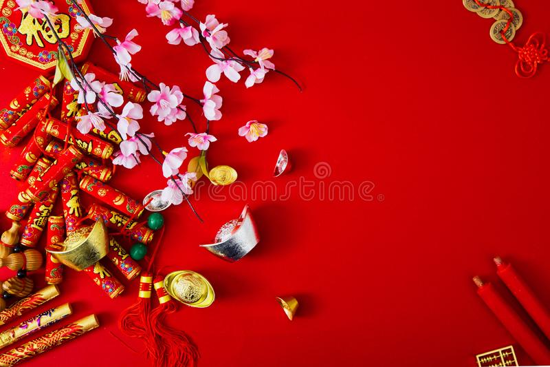 Decorate chinese new year 2019 on a red background(Chinese characters . FU. in the article refer to good luck, wealth, money flow royalty free stock photography