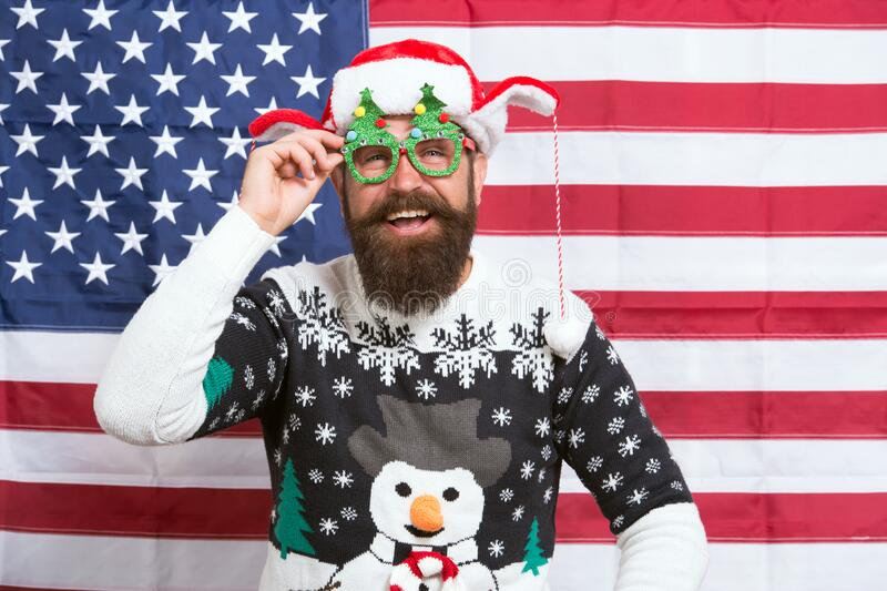 Decorate Christmas with american flag. Patriotic hipster celebrate winter holidays. National holidays. Happy holidays stock images