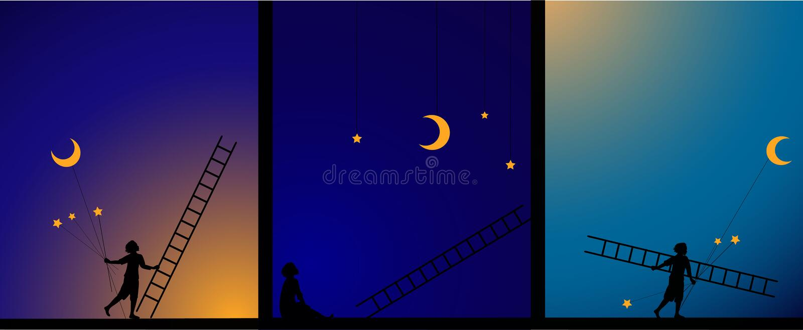 Decorate the sky, work in theater, image story, e, boy fix the star and moon with ladder, work on the heavens, dream,. Shadows royalty free illustration