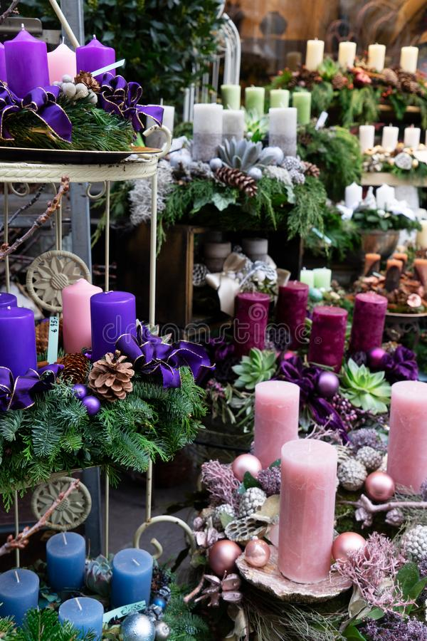 Decorated advent candles. Christmas market shop in Vienna royalty free stock images