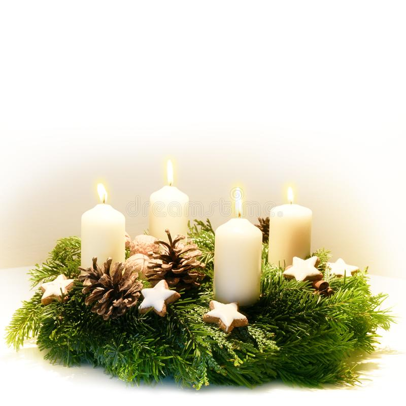 Decorated Advent wreath from fir and evergreen branches with bur royalty free stock photos
