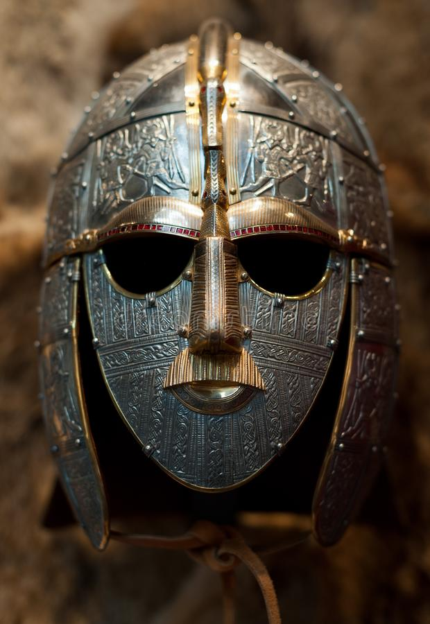 Decorated Anglo-Saxon helmet, Sutton Hoo stock images