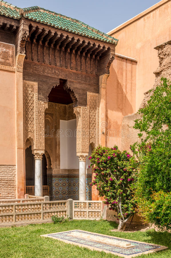 Decorated arabesque pattern at the Saadian Tombs in Marrakesh ,Morocco. Decorated arabesque pattern at the Saadian Tombs in Marrakesh - Morocco royalty free stock photography
