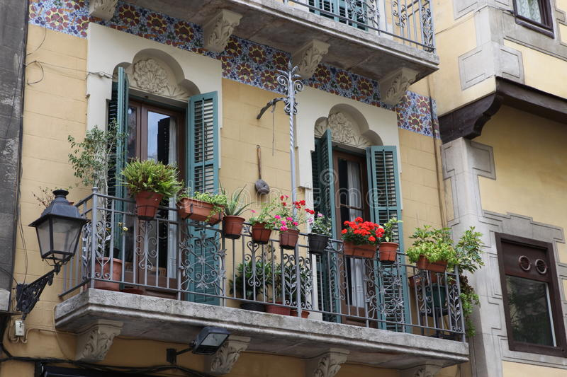 Decorated balcony, mediterranean climate flora. Barcelona, Spain stock photo