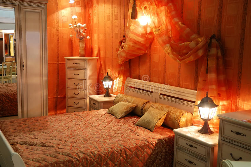 Decorated bedroom stock images