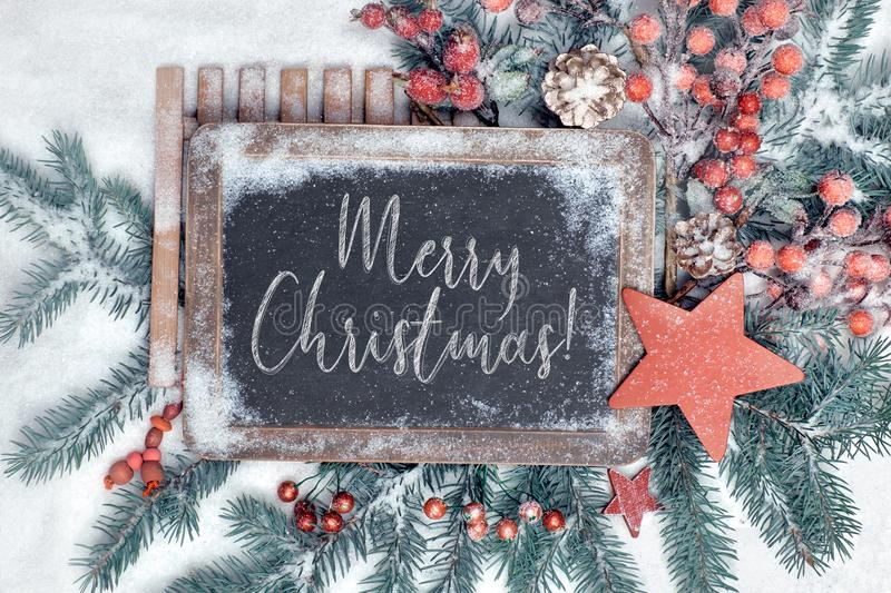 Decorated blackboard with text royalty free stock photography