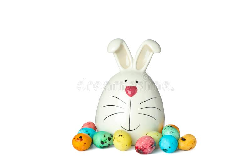 Decorated bunny and Easter eggs isolated on white background stock image